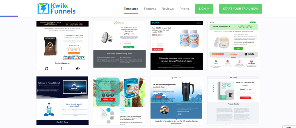 Kwikfunnels Review: Templates